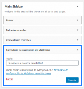 Widget generado por Mailchimp for WordPress