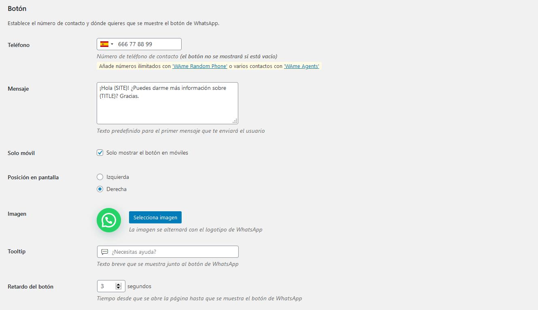 Ajustes generales del botón en el plugin VVAme Chat WordPress