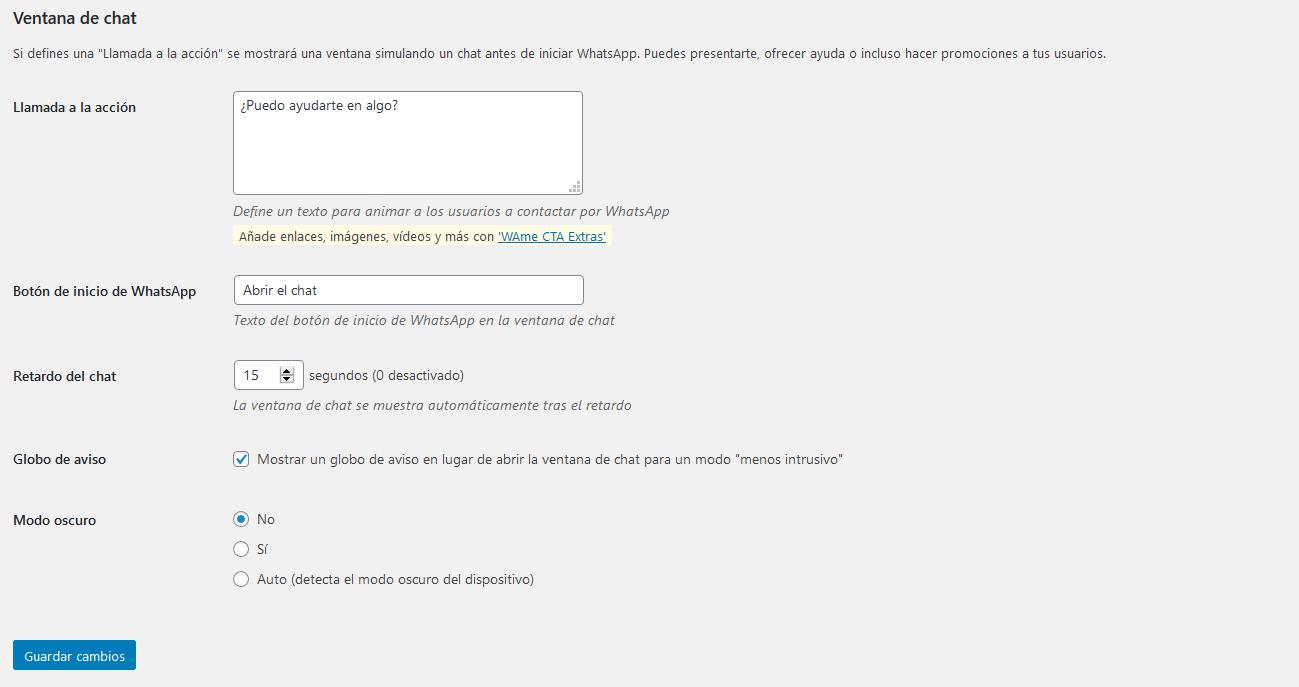 Ajustes ventana de chat en el plugin VVAme de WordPress