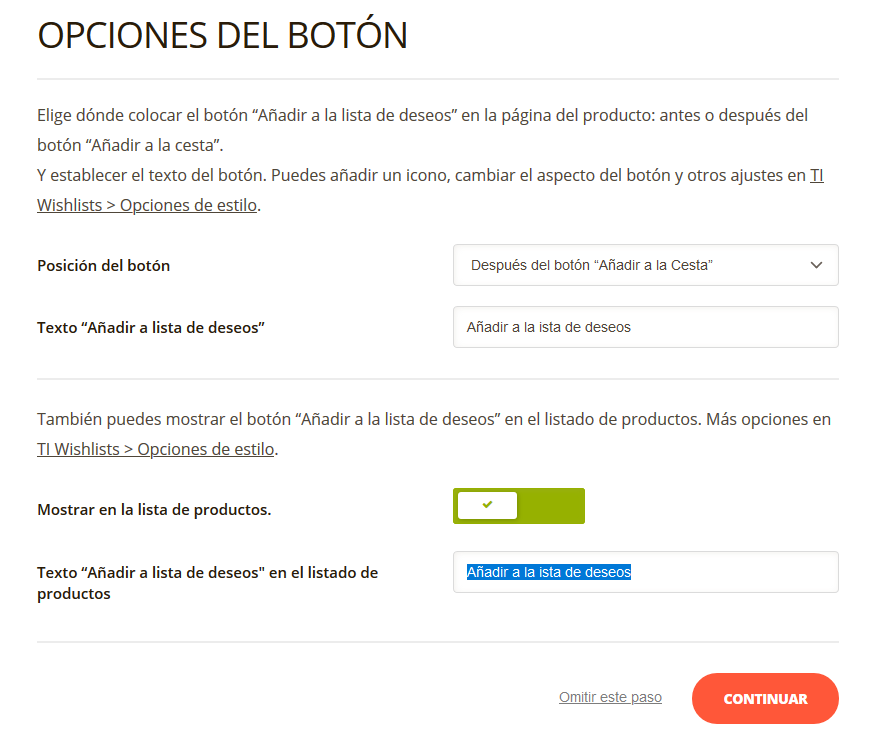 Configuración del call to action en el plugin TI WooCommerce Wishlist