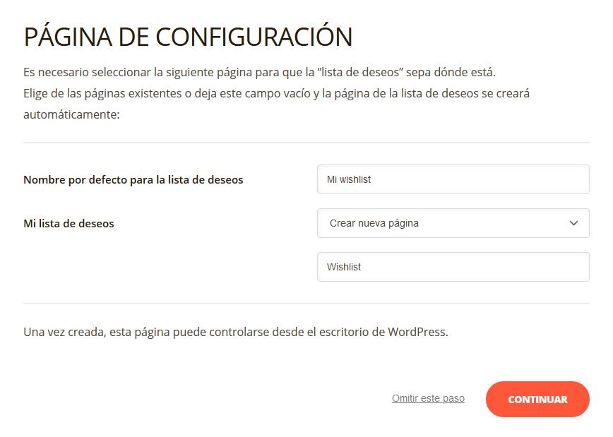 Opciones de configuración del plugin TI WooCommerce Wishlist