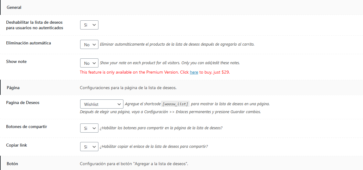 Configuración del plugin WPC Smart Wishlist for WooCommerce