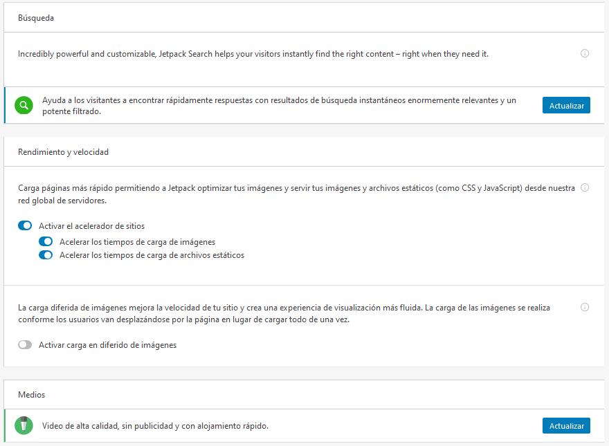 Configuración del bloque de rendimiento de Jetpack