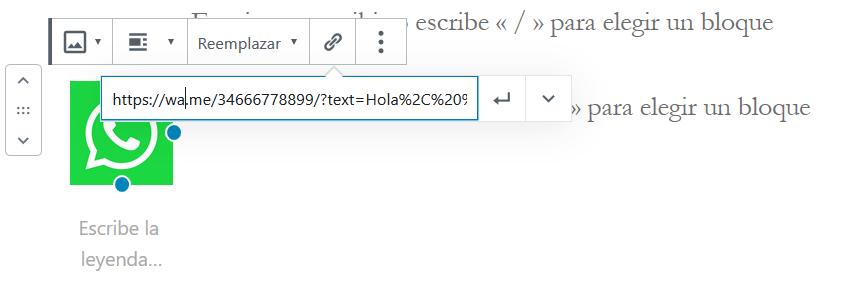 Insertar la URL de WhatsApp en WordPress