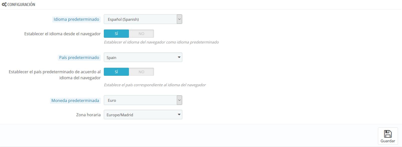 Cambiar el bloque de Configuración en PrestaShop 1.6
