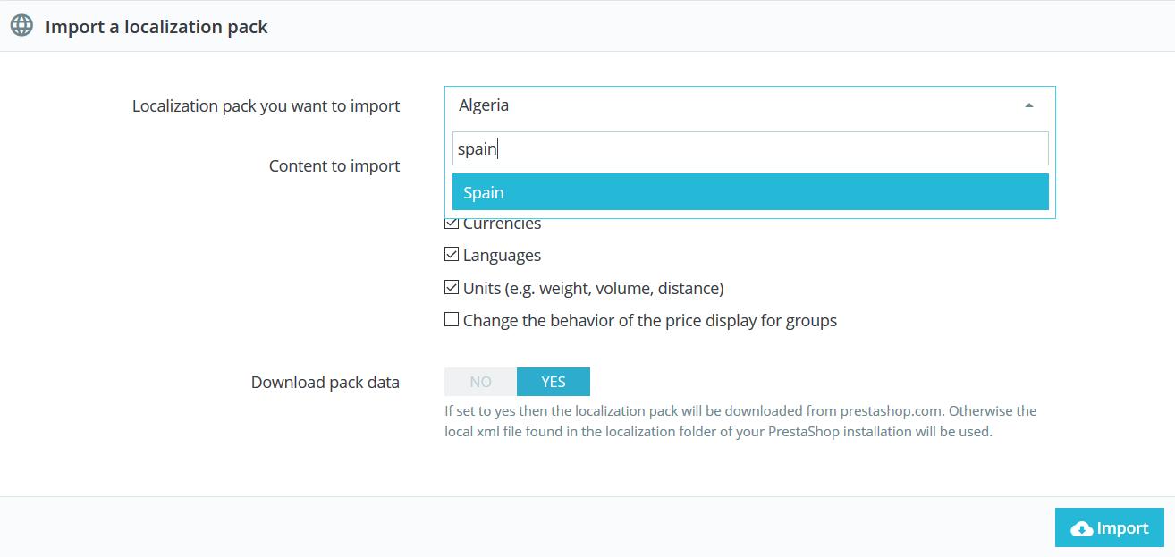 Importar el paquete de idioma en PrestaShop 1.7
