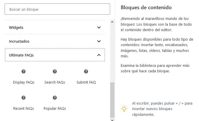 Añadir la sección de FAQs a WordPress con el plugin Ultimate FAQ con Gutenberg