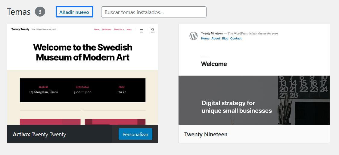 Añadir un nuevo tema a WordPress