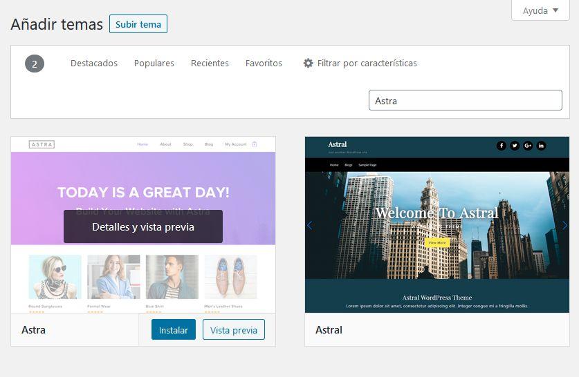 Buscar un tema en el repositorio oficial de WordPress e instalarlo