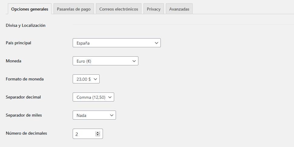 Configuración del plugin Charitable