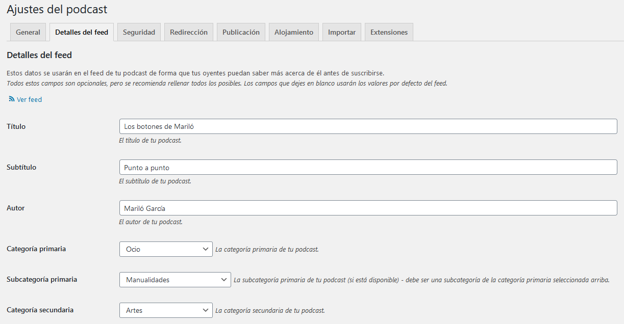 Configuración del plugin de podcasts Seriously Simple Podcasting