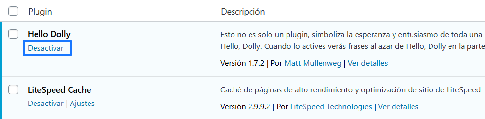 Desactivar un plugin en WordPress