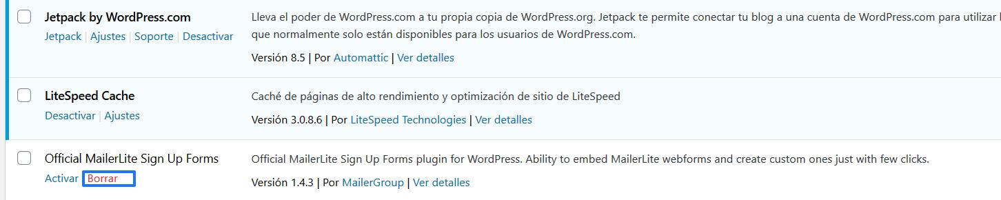 Desinstalar el plugin de MailerLite para WordPress