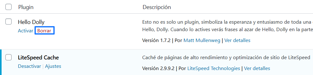Desinstalar un plugin en WordPress