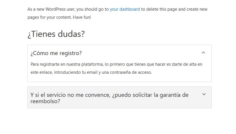 Ejemplo de una sección de FAQs con el plugin WP Responsive FAQs