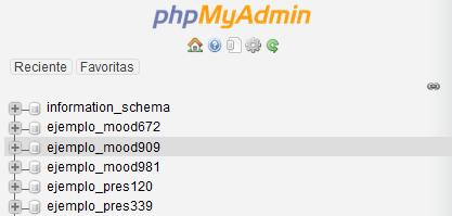 Seleccionar una base de datos en phpMyAdmin