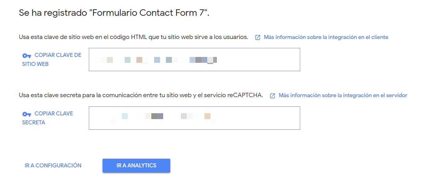Obtener claves de Google reCAPTCHA