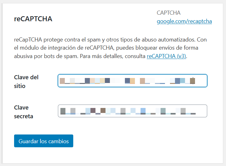 Añadir las claves de Google reCAPTCHA en Contact Form 7