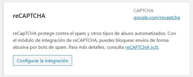 Configurar integración de Contact Form con Google reCAPTCHA