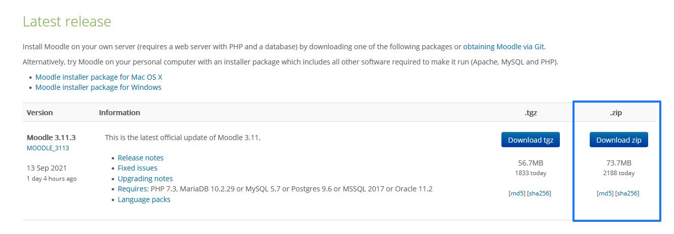 Descargar Moodle en formato ZIP