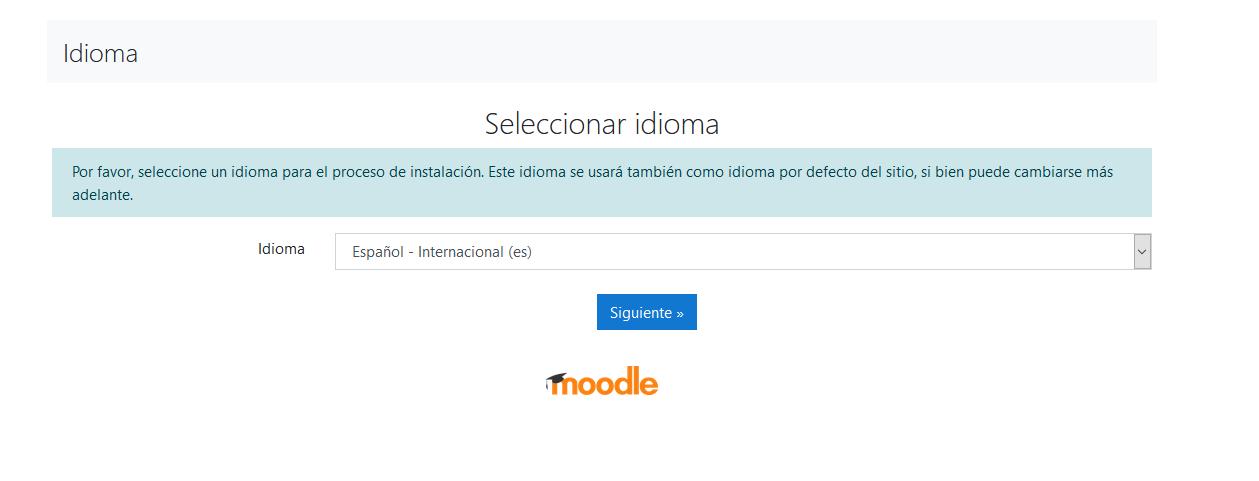 Seleccionar el idioma al instalar Moodle