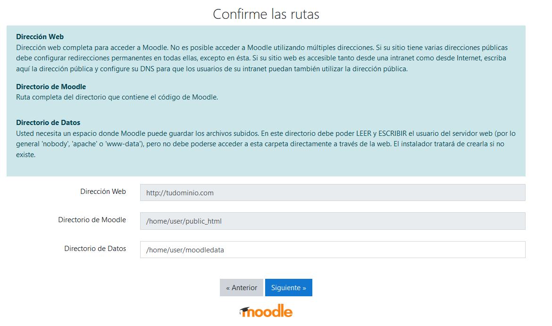 Confirmación de directorios al instalar Moodle