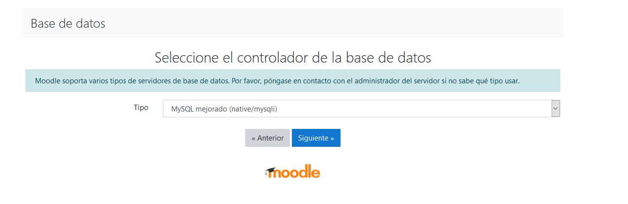 Seleccionar base de datos en la instalación de Moodle