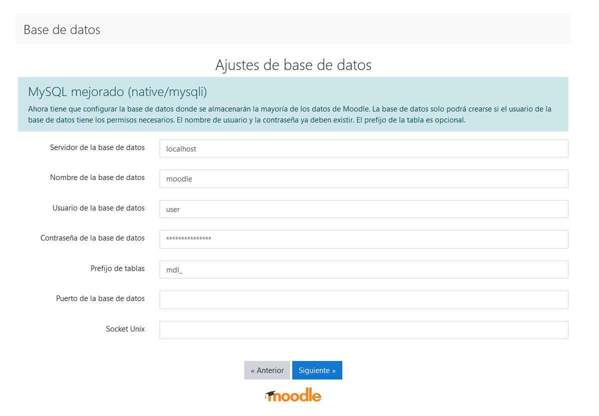 Cubiri información de la base de datos para finalizar la instalación de Moodle