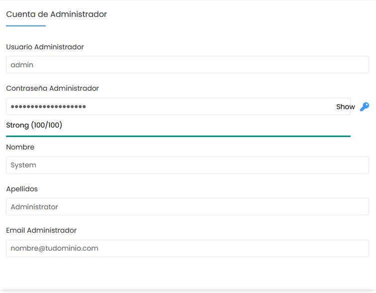 Configurar la cuenta de administrador de Moodle