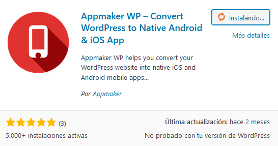 Instalar el plugin Appmaker en WordPress