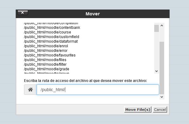 Mover archivos al public_html a través del Administrador de archivos de cPanel