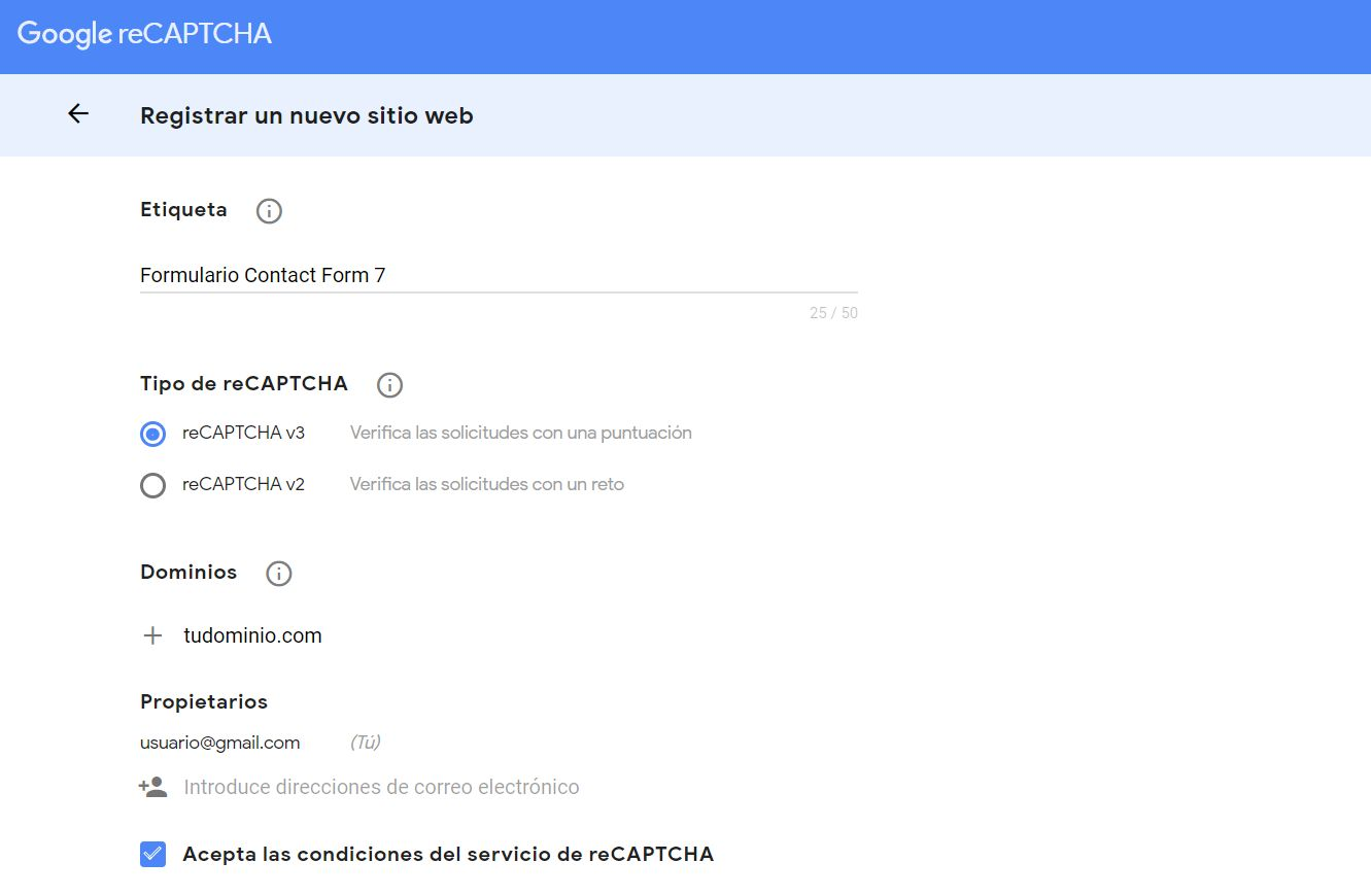 Registrar sitio en Google reCAPTCHA