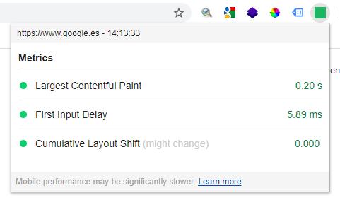 Resultados obtenidos con la extensión Core Web Vitals de Google Chrome