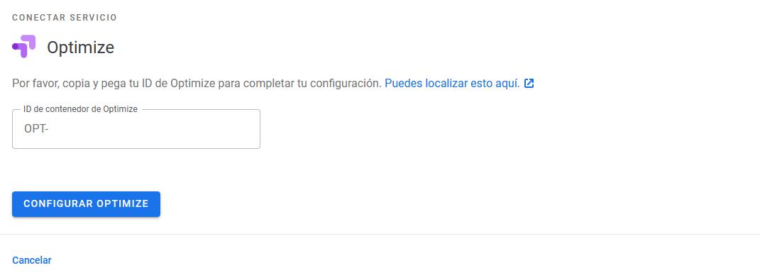 Añadir el código de Optimize en el plugin Google Site Kit