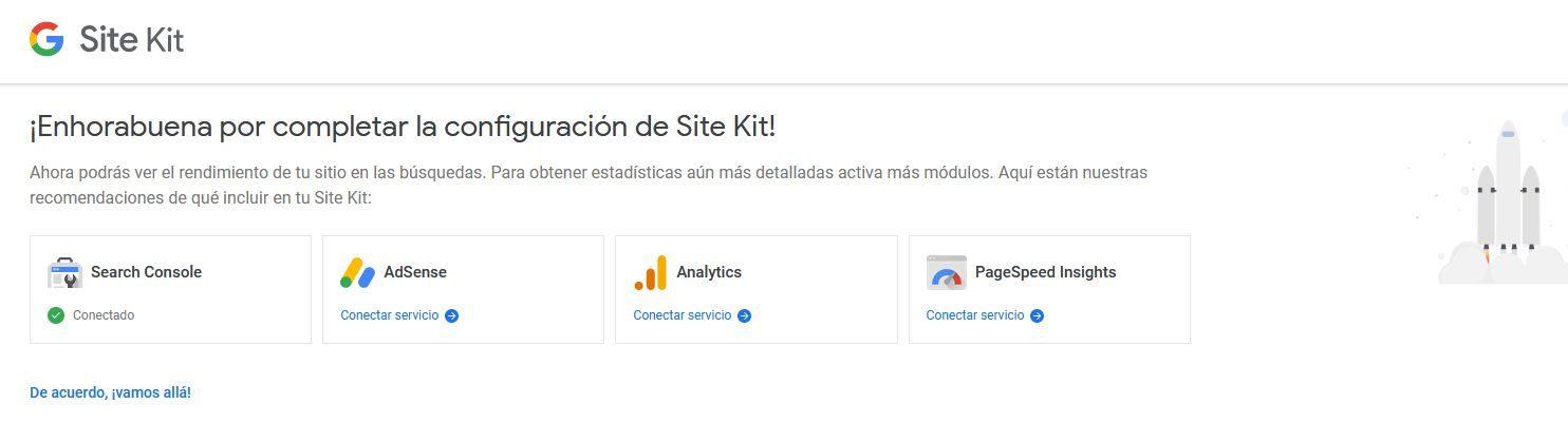 Conectar servicios de Google con el plugin Site Kit