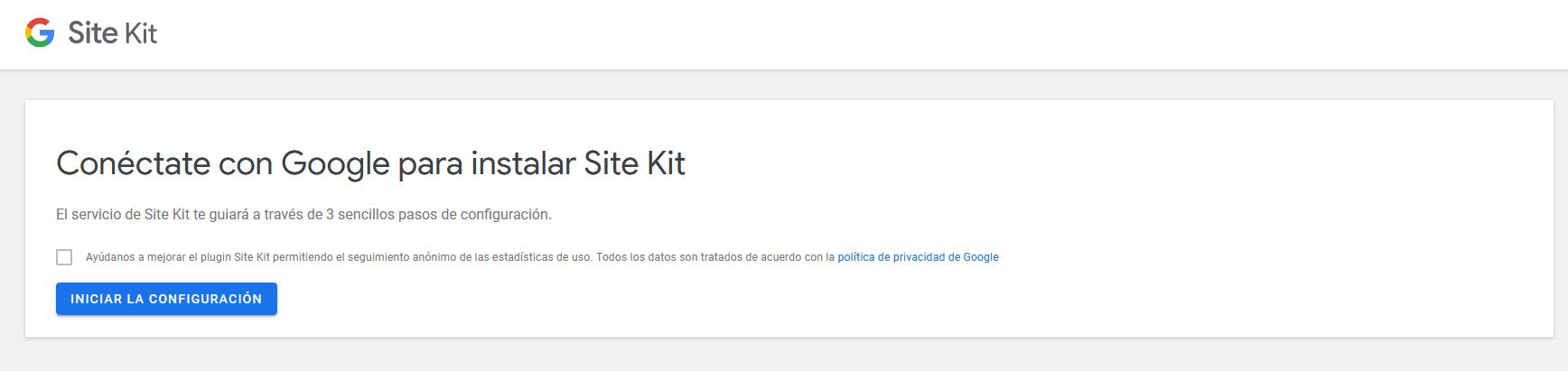 Iniciar la conexión de Site kit con tu cuenta de Google