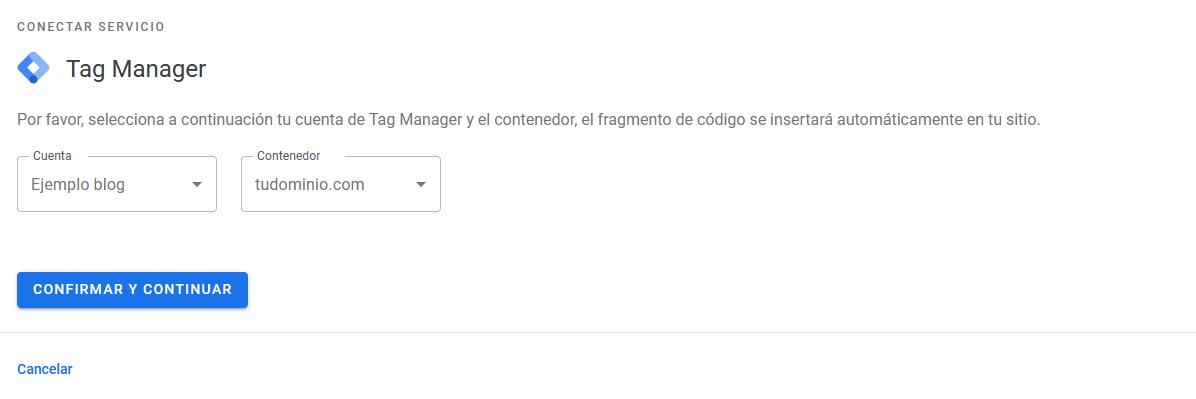 Finalizar la vinculación de Tag Manager con Site Kit de Google