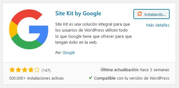 Instalar el plugin Site Kit by Google en WordPress