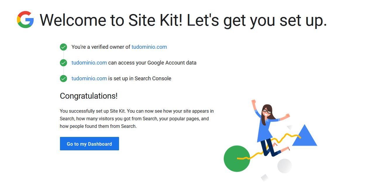 Verificar la propiedad de la página web en el plugin Site Kit by Google