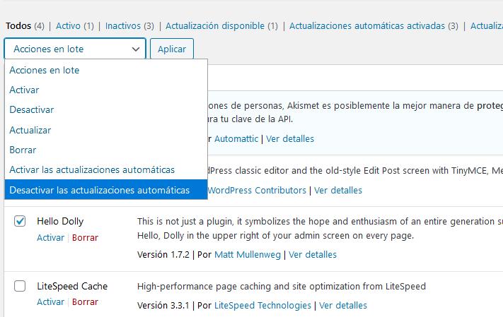 Desactivar en lote las actualizaciones automáticas de WordPress