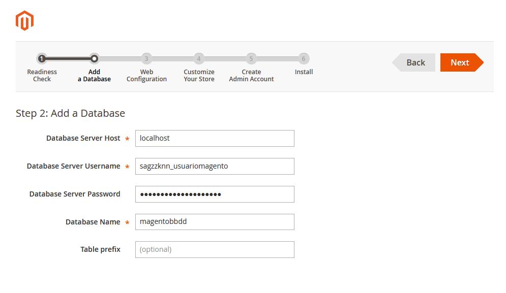 Asistente de instalación de Magento: Información de la base de datos