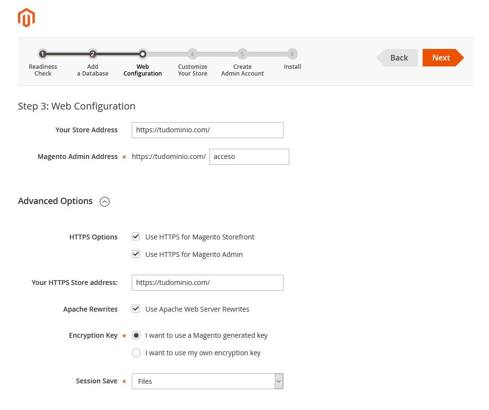 Asistente de instalación de Magento: Configuración web