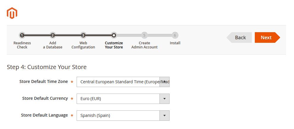 Asistente de instalación de Magento: Zona horaria, moneda e idioma