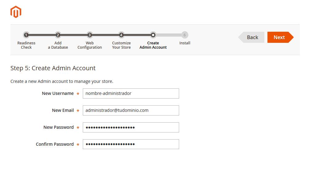 Asistente de instalación de Magento: Crear la cuenta de administrador