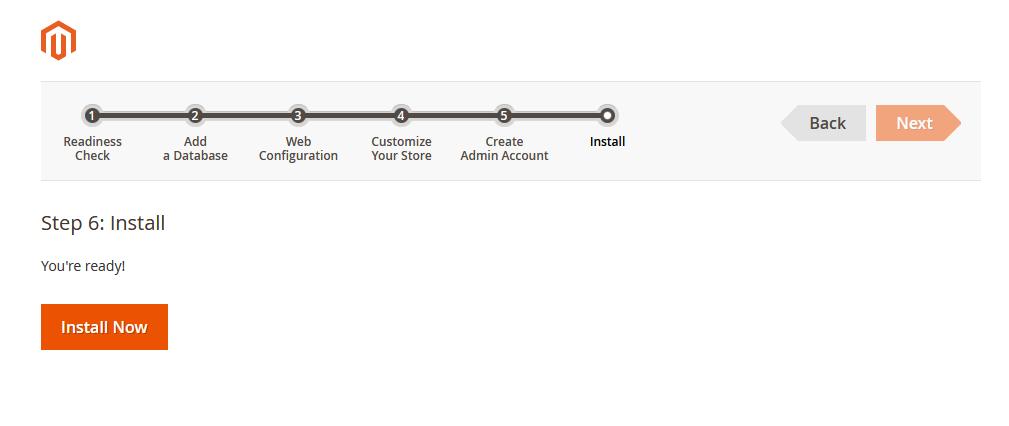 Asistente de instalación de Magento: Botón de instalar Magento