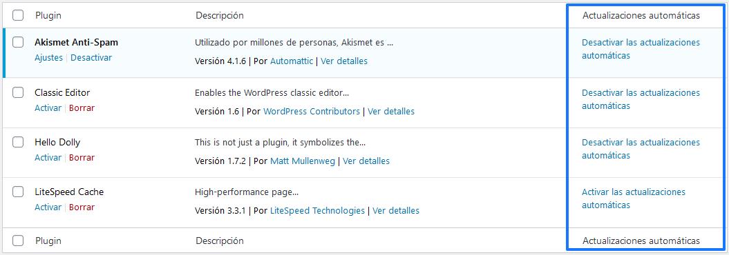 Desactivar actualizaciones automáticas en WordPress 5.5