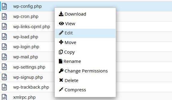 Editar archivo wp-config.php desde el adminsitrador de archivos de cPanel