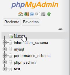 Crear una nueva base de datos en phpMyAdmin