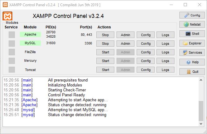 Acceder al panel de control de XAMPP
