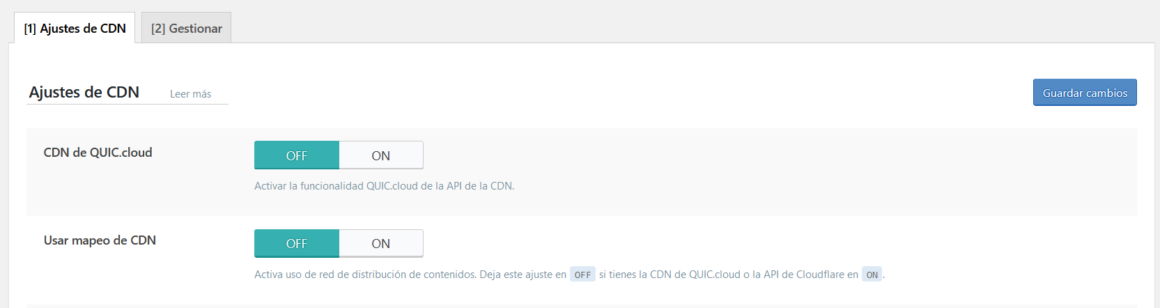 Ajustes de la CDN de LiteSpeed Cache for WordPress